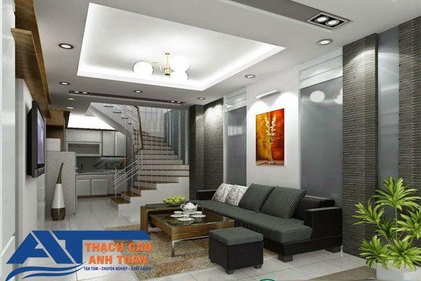 Mẫu thiết kế trần thạch cao phòng khách nhà phố đẹp