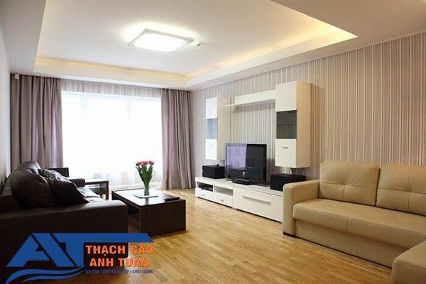Mẫu trần thạch cao đơn giản cho phòng khách chung cư