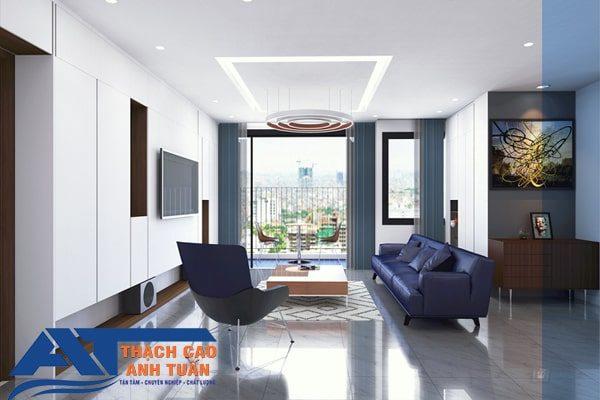 Trần thạch cao phẳng cho phòng khách