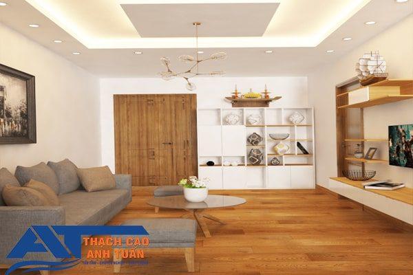 Trần thạch cao phòng khách đơn giản