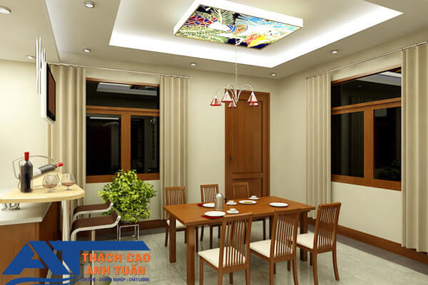 Mẫu trần thạch cao giật cấp nhà bếp cho chung cư