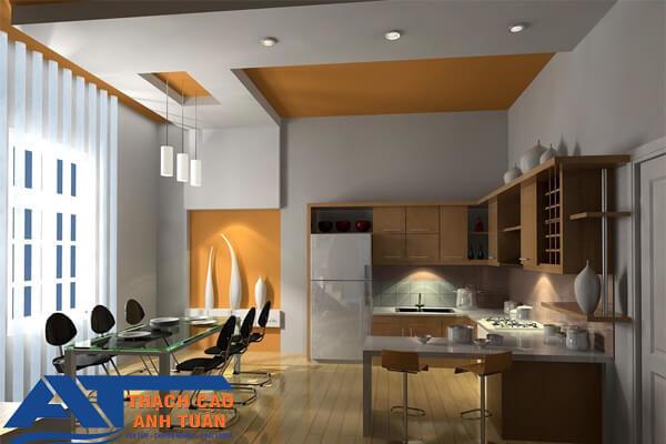 Mẫu trần thạch cao phòng bếp đơn giản cho nhà phố